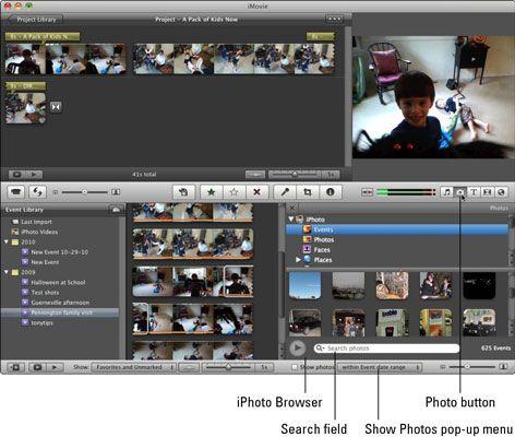 Procurar fotos no iPhoto por evento, selecionar um álbum, ou procurar a biblioteca do iPhoto.