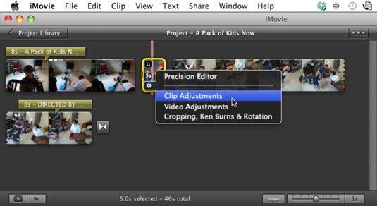 Escolha Ajustes clipe para alterar o clipe de foto's duration.