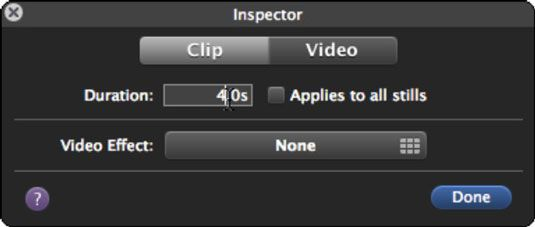 Alterar o clipe de foto's duration and add a video effect.