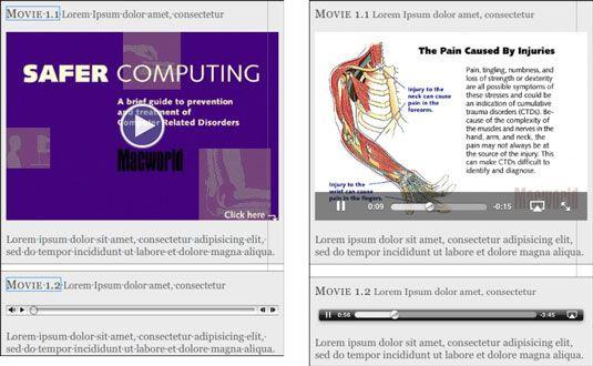 Um objeto de vídeo e um objeto de áudio no iBooks Author (à esquerda), e os mesmos objetos em um e-book sobre th