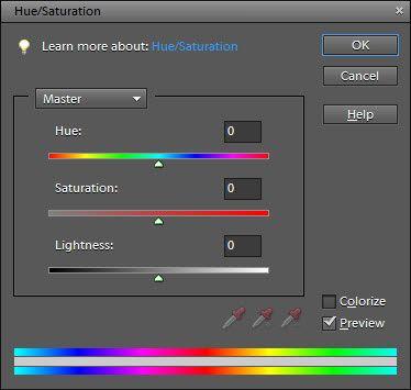Ajuste de matiz e saturação na caixa de diálogo Hue / Saturation.