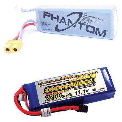 Mostra duas baterias LiPo drones, tanto pós-venda e específica da marca. [Crédito: Cortesia de Mark LAFA