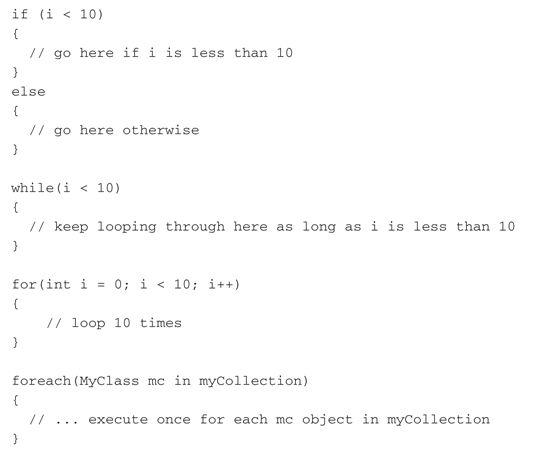 ���� - Controlar o fluxo do programa em C # 2008