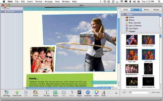 Arraste uma foto a partir do Media Browser para uma imagem de espaço reservado para mudá-lo.