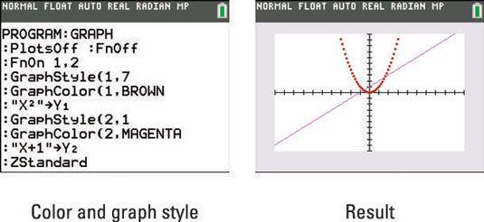 ���� - Mudar a cor eo estilo gráfico de uma função TI-84 Plus