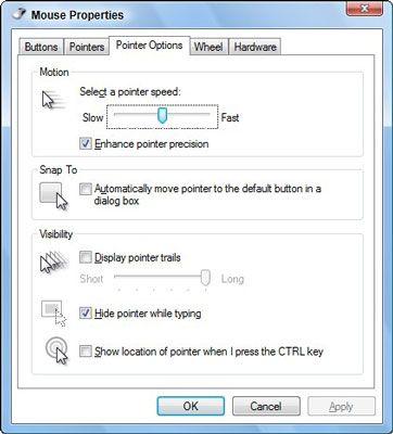 Controlar o mouse's pointer using this dialog box.