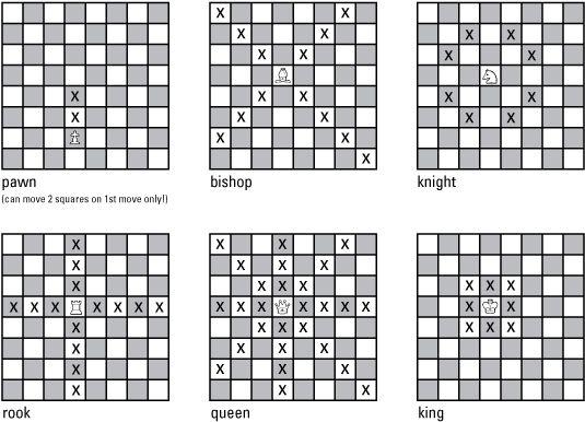 ���� - Conhecendo os movimentos que peças de xadrez pode fazer
