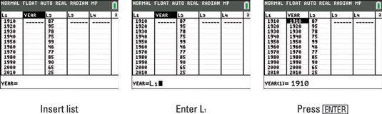 ���� - Copiar e Recall Data Listas na TI-84 Plus