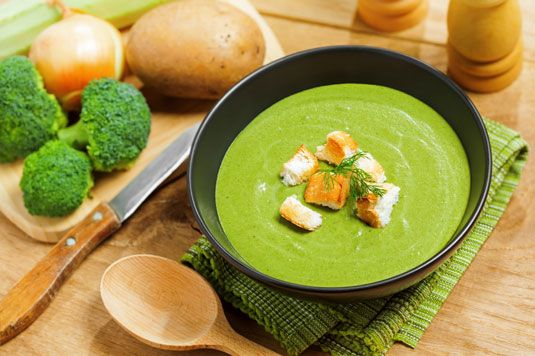 ���� - Creme de Brócolis italiano e sopa de cogumelo Receita