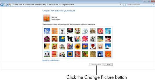 ���� - Para Idosos: Como alterar a imagem da conta do usuário do computador