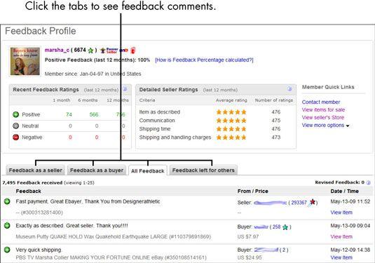 ���� - Para Idosos: Como examinar um eBay Seller Perfil comentários