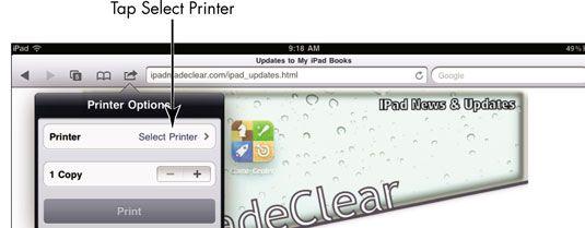 ���� - Para Idosos: Imprimir uma página da Web no iPad 2