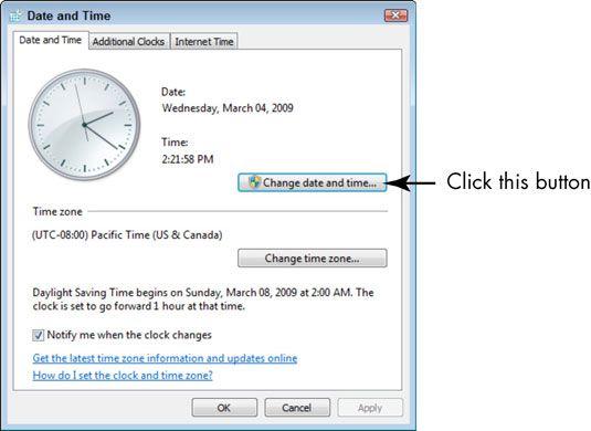 ���� - Para Idosos: Defina a data e hora no Windows 7