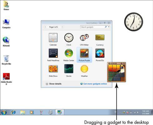 ���� - Para Idosos: Usando o Windows Desktop Gadgets