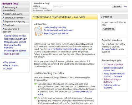 ���� - Para Idosos: O que você não pode vender no eBay