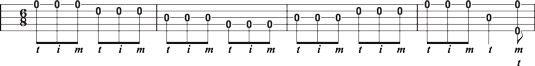 Usando o rolo para a frente em 6/8 tempo na banjo 8208-string única & #.