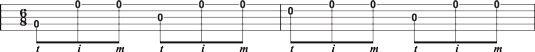 Usando a frente rola para mudar cordas em 6/8 tempo na banjo 8208-string única & #.