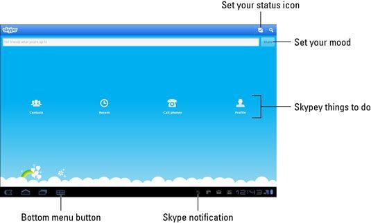 ���� - Galaxy Tab Skype: Status e texto funções de chat