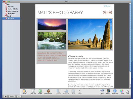 ���� - Como adicionar uma nova página iWeb para o Mac OS X Snow Leopard Web Site