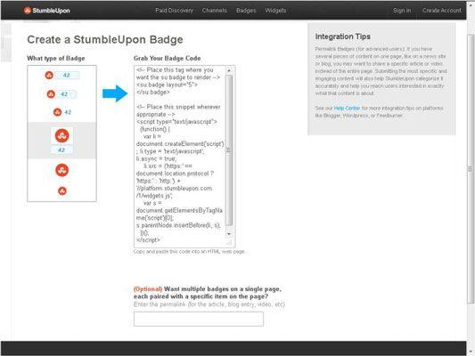 ���� - Como adicionar o emblema StumbleUpon e ferramenta ao seu site