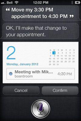 ���� - Como alterar uma entrada de calendário Siri