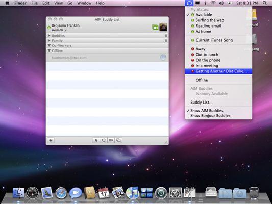 ���� - Como alterar os modos Disponibilidade iChat no Mac OS X Snow Leopard