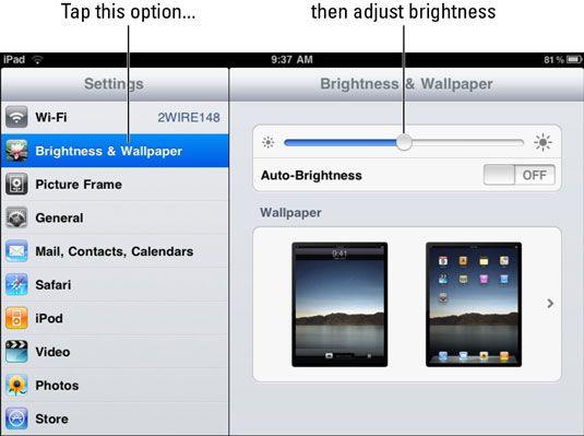 ���� - Como alterar as configurações de brilho e papel de parede em seu iPad