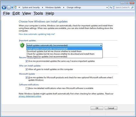 ���� - Como alterar as configurações do Windows Update
