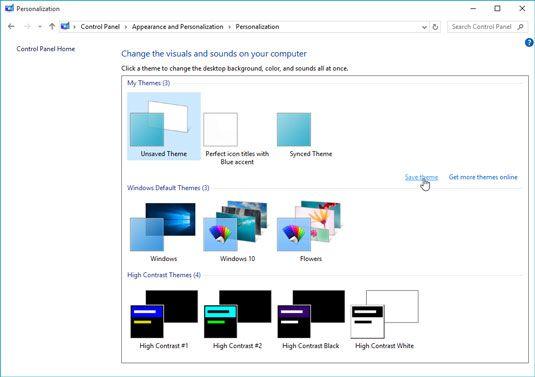 Escolha um tema pré-configurado para alterar a forma como o Windows olha e sons.