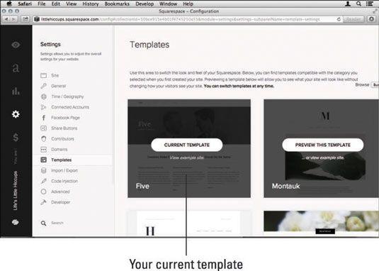 ���� - Como mudar seu modelo de site em Squarespace