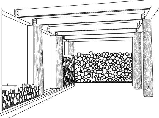 O empilhamento aleatório de madeira em uma parede cordwood cria um belo padrão.