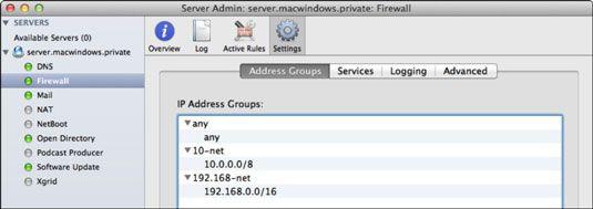 ���� - Como criar grupos de endereços IP para usar em Firewall do Lion Server
