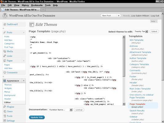 O modelo de página exibe o código necessário para definir um nome específico para o modelo.