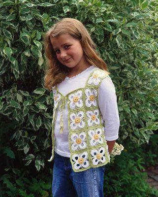 ���� - Como Crochet um colete com um motivo floral