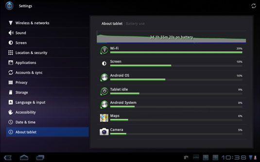 ���� - Como determinar o que está usando a energia da bateria em um Galaxy Tab