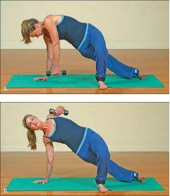 ���� - Como fazer o Yoga-com-pesos Plank Side Exercício