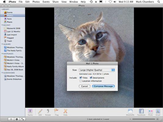���� - Como de e-mail fotos do iPhoto 09