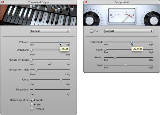 Ajustar as configurações Tonewheel órgãos (esquerda) e configurações de compressores (direita).