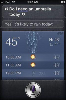 Peça Siri se você precisa de um guarda-chuva (ou dizer,
