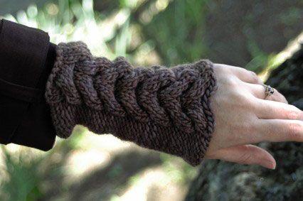 ���� - Como Knit Aquecedores de mão com ferradura Cable ponto