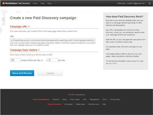 ���� - Como lançar uma campanha Descoberta pago em StumbleUpon
