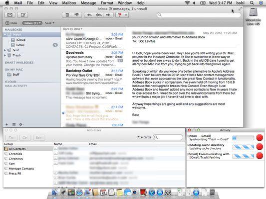 espaço Mail, com três janelas Mail (visualizador de mensagens, endereços e actividade) dispostos exatamente assim.