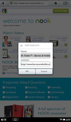 ���� - Como marcar suas páginas favoritas na Web Browser Tablet Nook