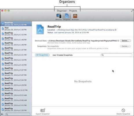 ���� - Como navegar na janela Organizador de Desenvolvimento iOS App