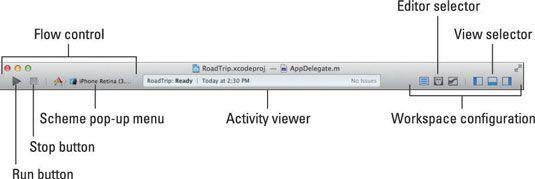 ���� - Como navegar na Barra de Ferramentas e Tab da Janela Workspace para o Desenvolvimento iOS App
