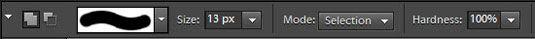 configurações de pincel de seleção na barra de opções.