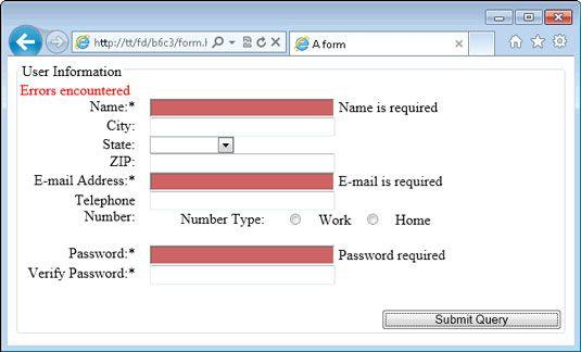 ���� - Como fornecer feedback para os usuários do formulário Web