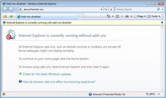 Comece uma cópia limpa do Internet Explorer.