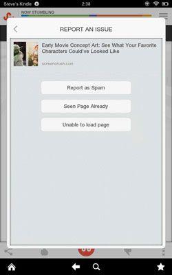 ���� - Como relatar ou bloquear uma página da web em StumbleUpon para Android