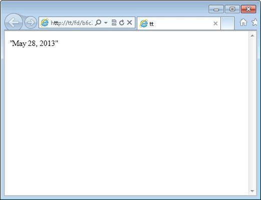 ���� - Como regresso a data de um serviço Web
